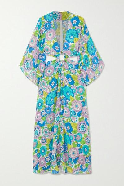 Shelly Cutout Floral-Print Cotton-Voile Maxi Dress