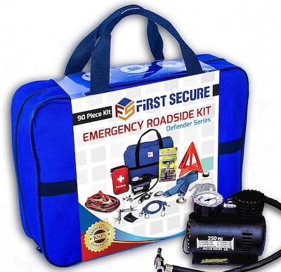 First Secure Emergency Roadside Kit - Defender Series (90-Piece Set)