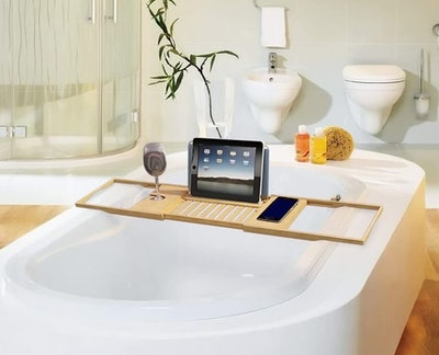 Home-Complete Bath Dreams Bamboo Bathtub Caddy Tray