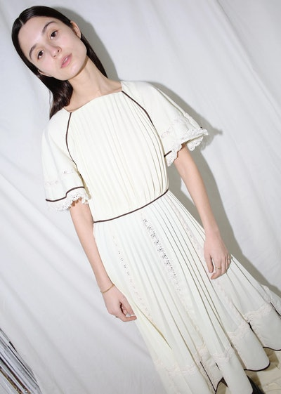 Vintage White Pleated Mini Dress