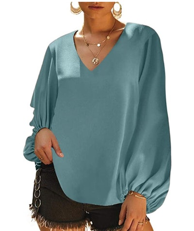Dokotoo V-Neck Blouse With Balloon Sleeves