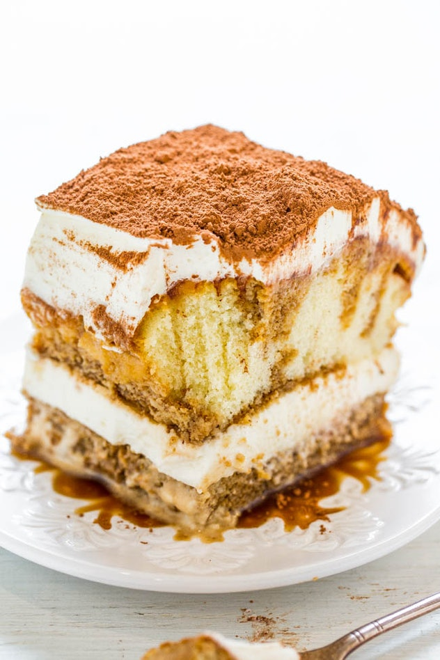 No-bake tiramisu on a white plate with a white background