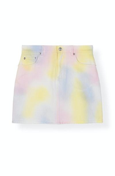Colored Washed Denim Skirt - Rainbow