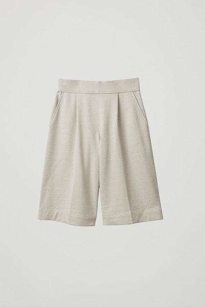 Cotton-Linen Wide-Leg Shorts