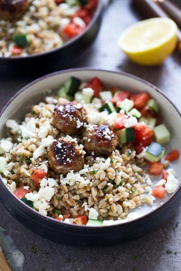 Use frozen meatballs in a Greek meatball bowl.