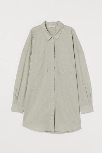 Long Linen-Blend Shirt