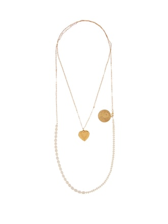 Pearl And Charm Double-Layer Gold-Plated Necklace