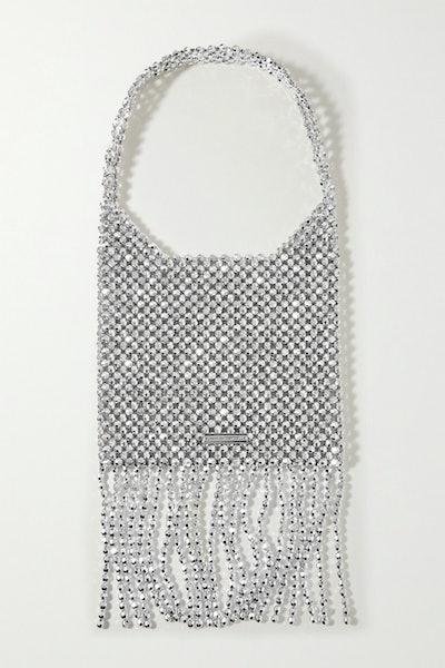 Loeffler Randall Cher Fringed Metallic Beaded Shoulder Bag