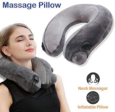 BestMaxs Massage Neck Pillow Inflatable Travel Massager