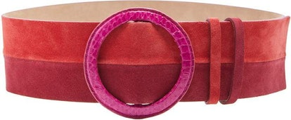 Wide Suede Belt in Pink and Red