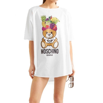 Women's Cotton Fiesta Bear Cover Up Shirt White — XS