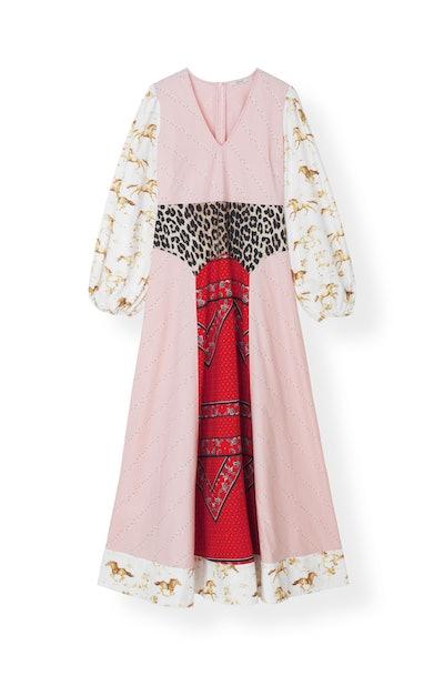 Mixed Cotton Poplin Maxi Dress