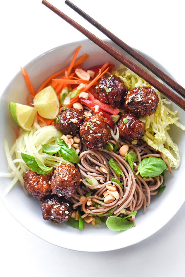 Soba noodles and Sriracha meatballs are the perfect dinner.