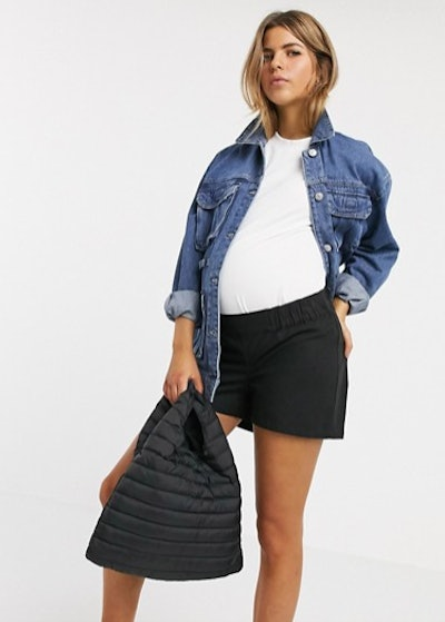 ASOS DESIGN Maternity chino short with under the bump waistband in black