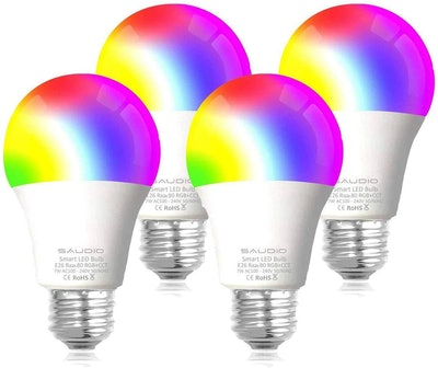 Saudio Smart WiFi Light Bulbs (4-Pack)