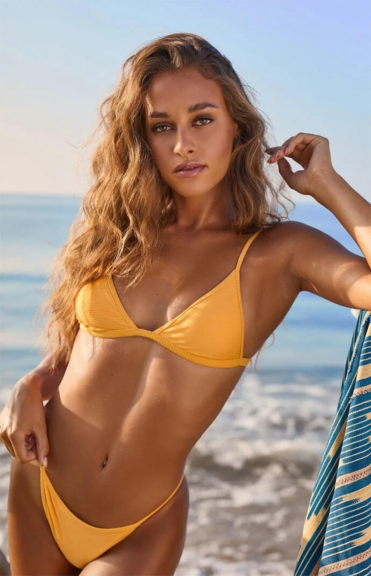 LA Hearts by PacSun Orange Kat Ribbed Triangle Bikini Top