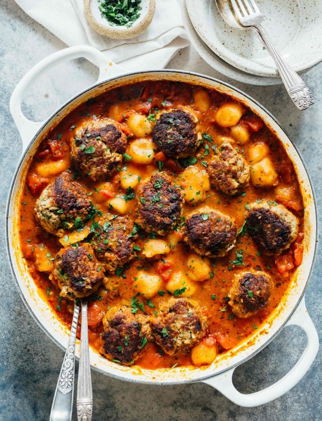 Meatballs and cauliflower gnocchi use up your frozen meatballs.