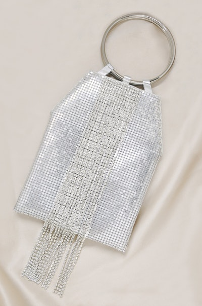 Ettika Silver Mesh Handle Bag