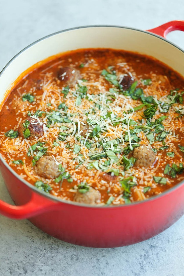 Spaghetti and meatball soup uses up frozen meatballs, too.