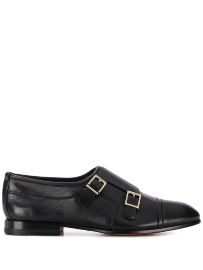 Buckled Low-Heel Monk Shoes
