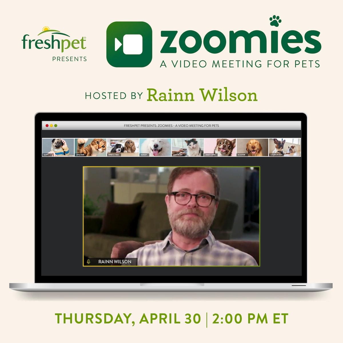 You can join Rainn Wilson on an all-pet Zoom meeting.