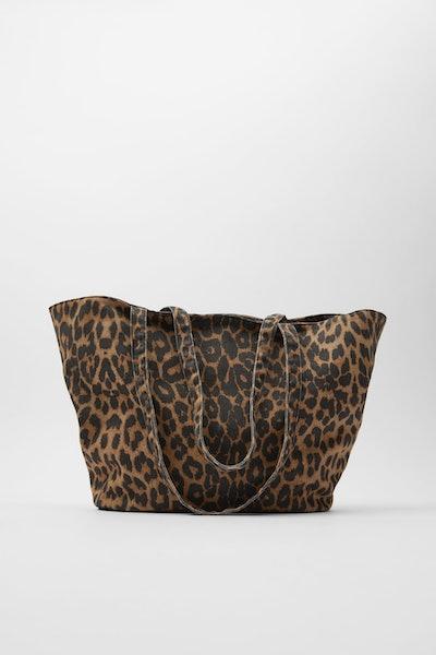 Zara Animal Print Fabric Shopper