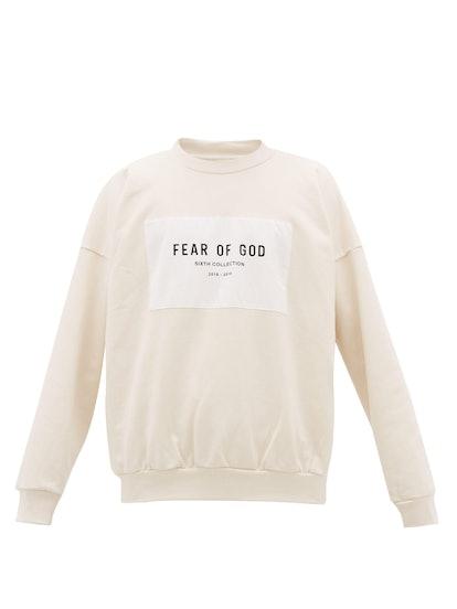 Logo-print patch cotton sweatshirt