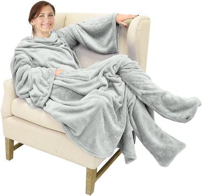 Catalonia Wearable Fleece Blanket with Foot Pockets