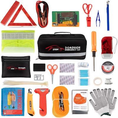 STDY Car Roadside Emergency Kit (57-Piece Set)