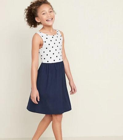 Fit & Flare Tank Dress for Girls in Polka Dot Top/Navy Skirt