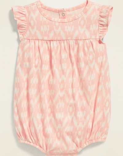 Printed Jersey Bubble One-Piece for Baby in Pink Ikat Print