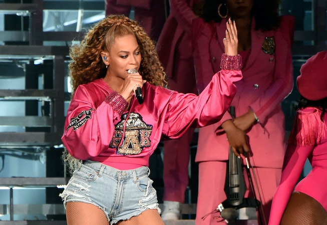 Beyonce Knowles performs onstage during the 2018 Coachella Valley Music And Arts Festival at the Empire Polo Field on April 21, 2018 in Indio, California.