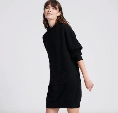 Wool Cashmere Sweatshirt Dress Black