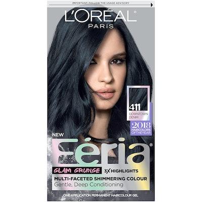 L'Oréal Paris Feria Multi-Faceted Shimmering Permanent Hair Color, 411 Downtown Denim