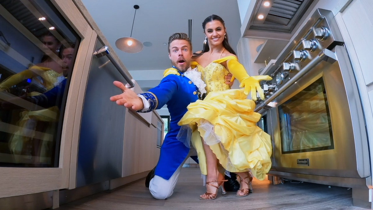 Derek Hough dressed in Beauty and The Beast costumes