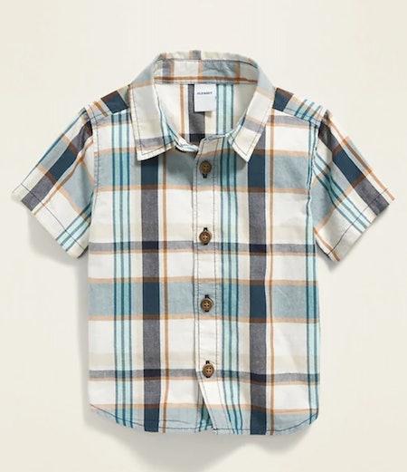 Printed Poplin Shirt for Baby Boy in White & Blue Plaid
