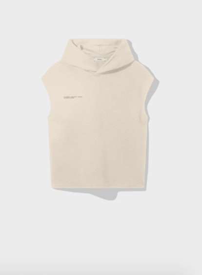 Recycled Cotton Sleeveless Hoodie - Sand