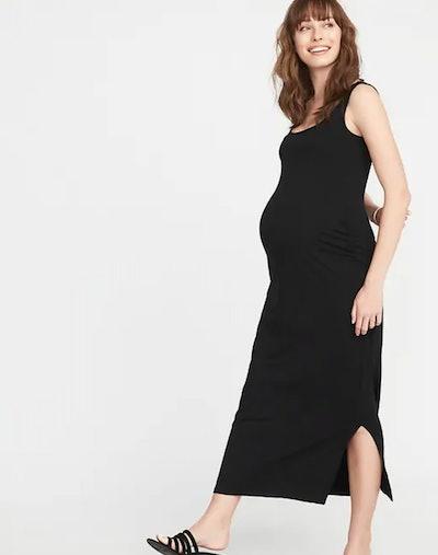 Maternity Side-Slit Maxi Tank Dress in Black Jack