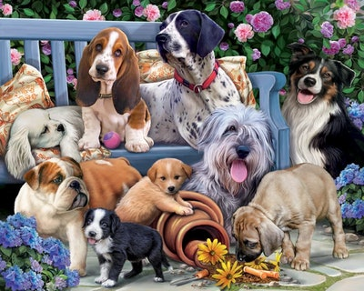 Vermont Christmas Company Dogs on a Bench Jigsaw Puzzle