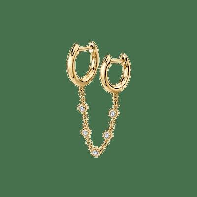 Diamond Chain Connected Slim Hoops