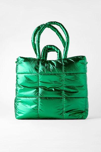 Zara Metallic Quilted Tote Bag