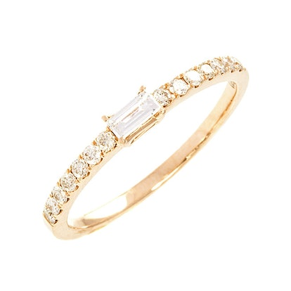 18k Yellow Gold & .3 cts Diamond Baby Baguette Band Ring