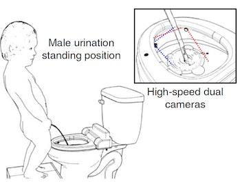 man peeing smart toilet