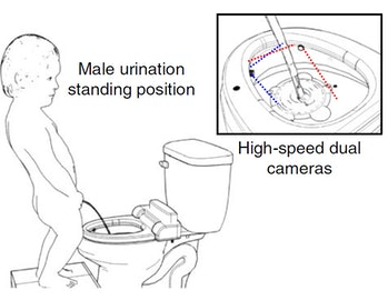 man peeing smart toilet