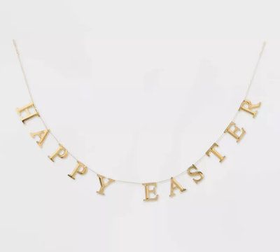"""72"""" x 3"""" Stamped Metal Happy Easter Garland Gold"""