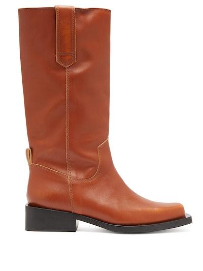 Ganni MC distressed leather Western boots