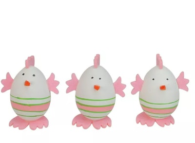 Northlight 3ct Striped Chicken Egg Easter Spring Figure Decorations