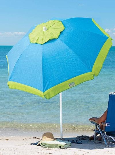 Rio Brands Beach Deluxe Sun Protection Beach Umbrella