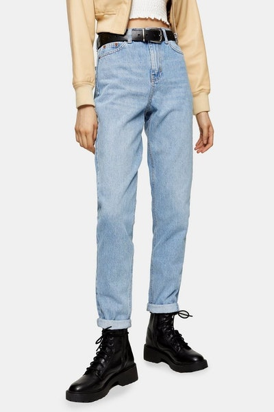 Bleach Wash Mom Tapered Jeans
