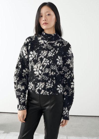 Alpaca Blend Mock Neck Jacquard Sweater